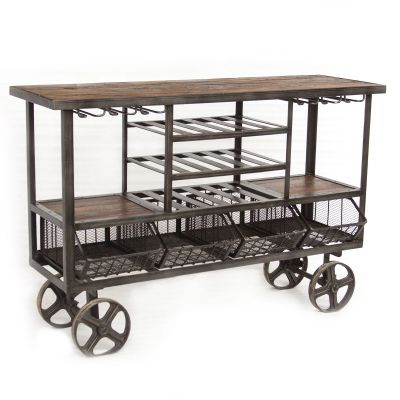 "Industrial Teak 60"" Bar Trolley"