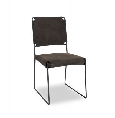 New York Iron and Asphalt Suede Dining Chair