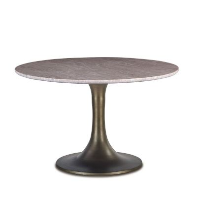 """Palm Springs 48"""" Round Dining Table White Marble"""