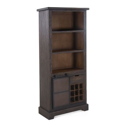 Steel City Bookshelf with Bar Storage in Desert Brown