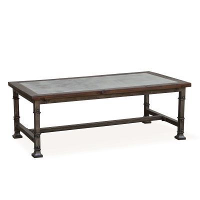 """Vintage Industrial 53"""" Coffee Table with Marble Inlay"""