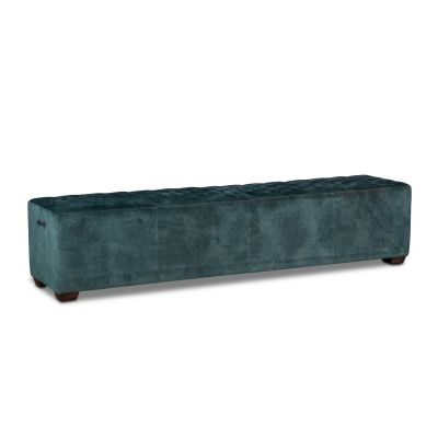"D'Orsay 78"" Upholstered Green Velvet Bench"