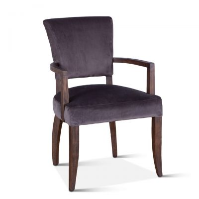 Mindy Arm Chair Asphalt Velvet with Weathered Teak legs