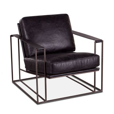 Bogart Armchair in Ebony Black Leather