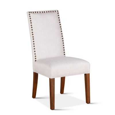 Jones Dining Chair Off White with Natural Teak Legs