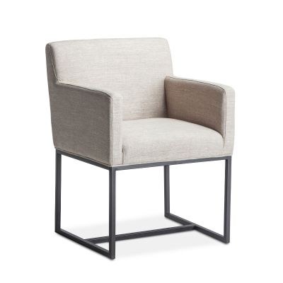 Renegade Off-White Linen and Iron Arm Chair