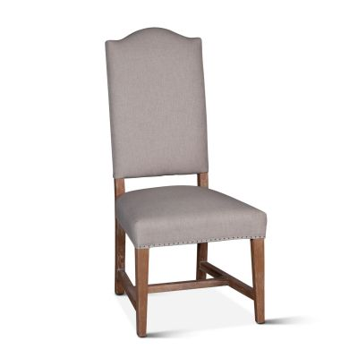 Stella Camelback Dining Chair Natural Linen Antique Oak Finish
