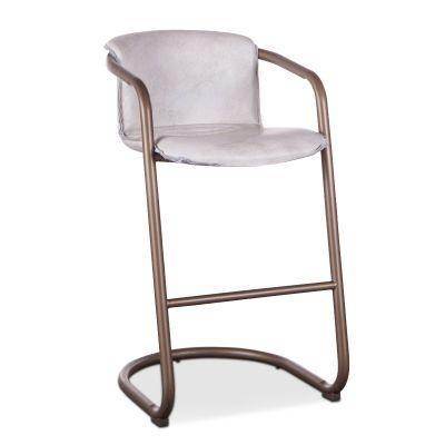 Portofino Leather Bar Chair Vintage White