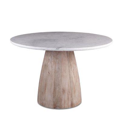 """48"""" Round Dining Table White Marble with Modern Whitewash Mango Wood Base"""