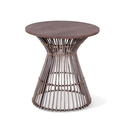 "Kubu 19"" Round Side Table Natural Gray"