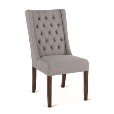Lara Dining Chair Oxford Warm Grey with Weathered Teak Legs