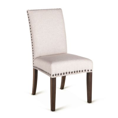 Sofie Dining Chair Off White with Weathered Teak Legs