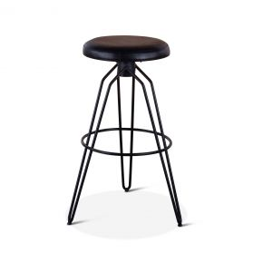Mod Black Leather Bar Stool