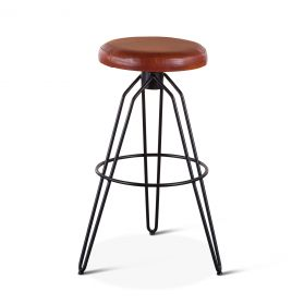 Mod Tan Leather Bar Stool