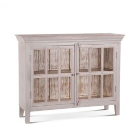 "Coral Gables 52"" Glass Cabinet Graywash"
