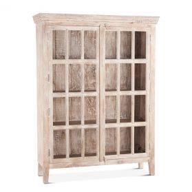 "Coral Gables 52"" Tall Whitewash Glass Cabinet"