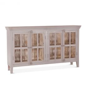 "Coral Gables 72"" Glass Cabinet Graywash"