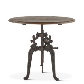 """French Vintage Round Adjusting Table 40"""" Weathered Gray"""