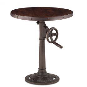 "Industrial Loft Adjustable Side Table 24"" Walnut Antique Zinc"