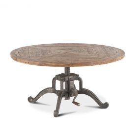 "Industrial Loft 42"" Adjustable Round Coffee Table"