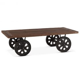 "Industrial Loft 64"" Reclaimed Wood Coffee Table with Wheels"