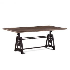 "Industrial Loft Dining Table 80"" Matte Oak"
