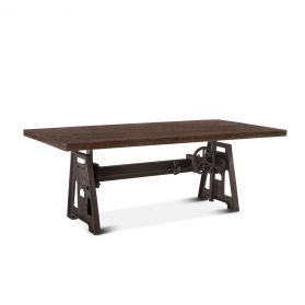 "Industrial Loft 84"" Adjustable Dining Table Weathered Teak"