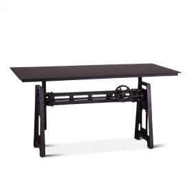 "Industrial Loft 60"" Adjustable Crank Desk Black Metal"
