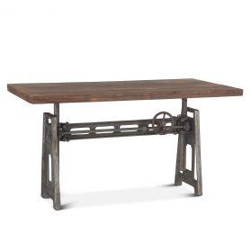"Industrial Loft 60"" Adjustable Crank Desk Weathered Gray"