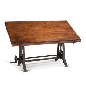 """Industrial Loft Drafting Desk 62"""" Walnut"""