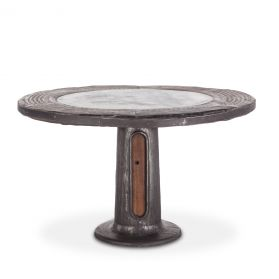 Industrial Loft Wagon Wheel Round Dining Table with Marble