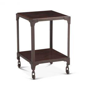 "Industrial Loft Square Side Table 16"" Chestnut"