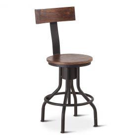Industrial Modern Adjustable Stool with Backrest in Walnut