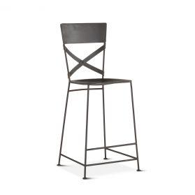 Industrial Loft Hammered Iron Bar Chair Matte Black