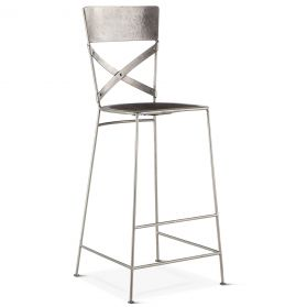 Industrial Loft Hammered Iron Bar Chair Antique Nickel
