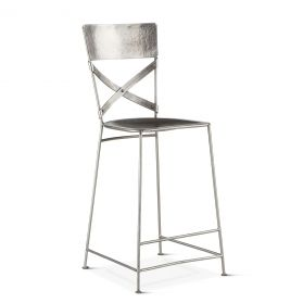 Industrial Loft Hammered Iron Counter Chair Antique Nickel