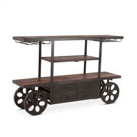 Industrial Teak Bar Cart Table 66""