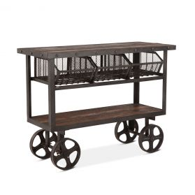 "Industrial Teak 48"" Reclaimed Wood Utility Cart Table"