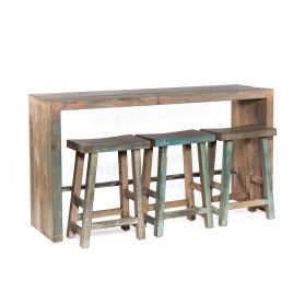 "Ibiza 66"" Reclaimed Wood Sofa Back Console Table with 3 Counter Stools"