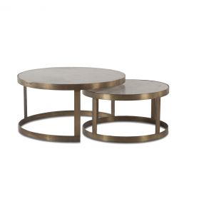 "Michaelangelo Nesting Coffee Table 36"" White Marble"