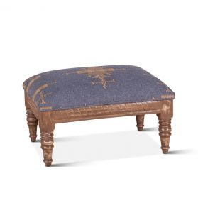 """Marrakech 26"""" Blue Upholstered Stool"""