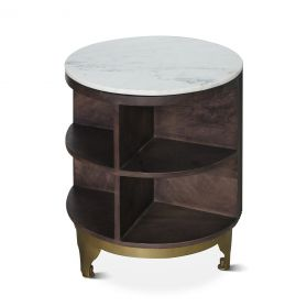 """New York 20"""" White Marble Top Side Table"""