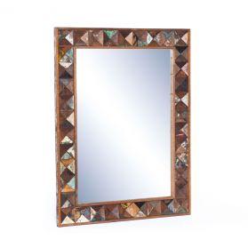 """Rio 32"""" Carved Teak Wood Mirror"""