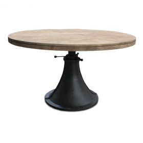 "Steel City 54"" Adjustable Round Dining Table Antique Oak"