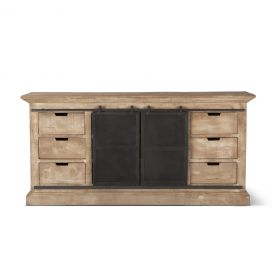"Steel City 72"" Sideboard Antique Oak with Sliding Metal Door"