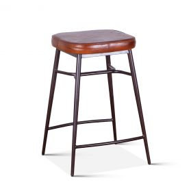 Wellington Backless Leather Counter Stool
