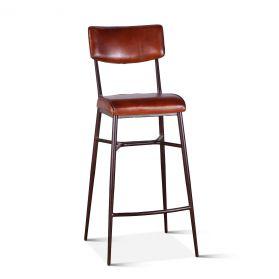 Wellington High Back Leather Bar Chair