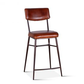Wellington High Back Leather Counter Chair