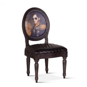 Duke of Wellington Dining Chair Vintage Print with Burlap Back