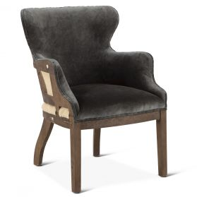 Elizabeth Gray Velvet Armchair with Exposed Frame